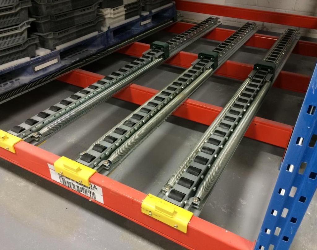 Spring Rail Pushback Pallet Rack 3 track system