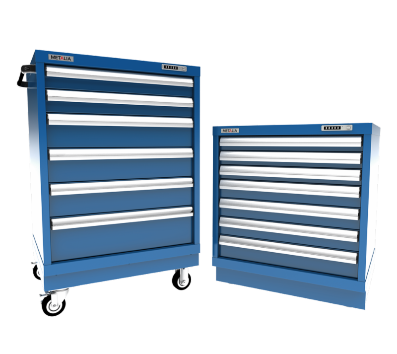 Blue cart for automotive tools with rolling wheels