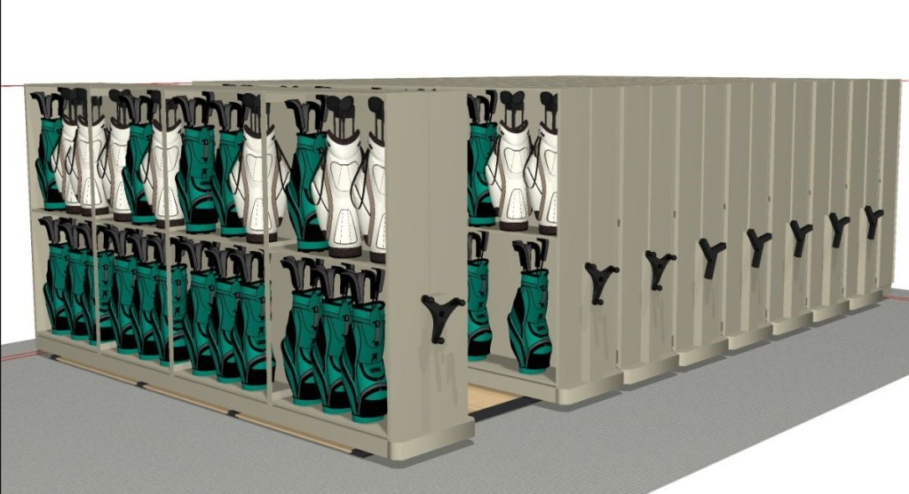 Spacefile Mobile Shelving for Golf Club Storage