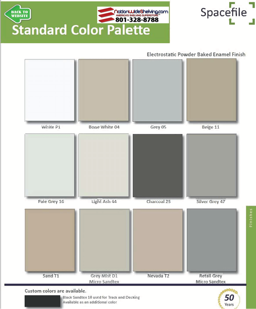 SpaceFile Mobile Shelving Color Chart